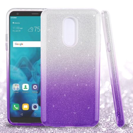 ASMYNA Gradient Glitter Hard Dual Layer Plastic TPU Case For LG Stylo 4 - Purple