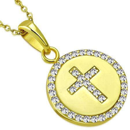 925 Sterling Silver Womens Religious Cross Yellow-Tone CZ Classic Pendant Necklace