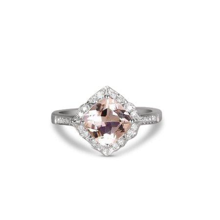 1.25 Carat Peach Pink Morganite (cushion cut Morganite) and Diamond Engagement Ring in 10k White
