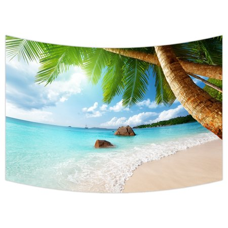 YKCG Beach Palm Tree Coast of Beach Nature Island Coconu Tree Wall Hanging Tapestry Wall Art 90x60 inches