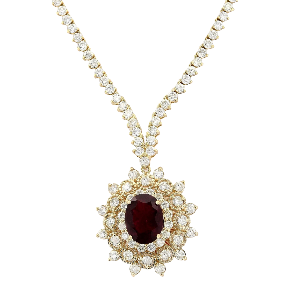 12.97 CTW Natural Tourmaline And Diamond Necklace In 14k Yellow Gold by