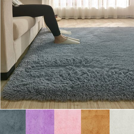Modern Soft Fluffy Floor Rug Anti-skid Shag Shaggy Area Rug Bedroom Dining Room Carpet Yoga Mat Winter Child Play - Black Gold Carpet