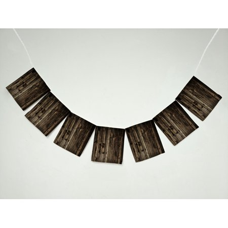 YKCG Rustic Old Barn Wood Banner Bunting Garland Flag Sign for Home Family Party - Barn Decorations For Parties