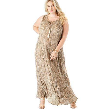 Roaman\'s - Plus Size A-line Maxi Dress In Crinkle - Walmart.com