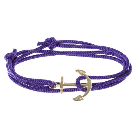 Men's Adjustable Nautical Anchor and Fish Hook Wrap Cuff Bracelets - Available in a Variety of Finishes and Colors - Made of Nylon Rope (Wrap Bracelet For Men)