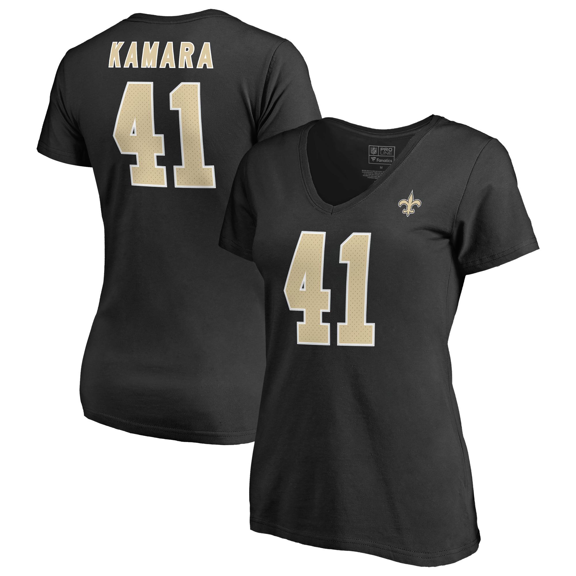 Alvin Kamara New Orleans Saints NFL Pro Line by Fanatics Branded Women's Authentic Stack Name & Number V-Neck T-Shirt - Black
