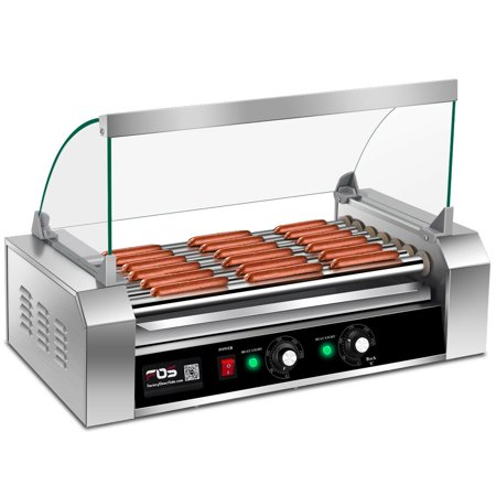 Costway Commercial 18/30 Hot Dog Hotdog 7/11 Roller Grill Cooker Machine w/ Cover (7 Roller Grill) ()