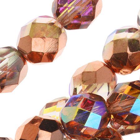 Czech Fire Polished Glass, Faceted Round Beads 8mm, 20 Pieces, Crystal Copper