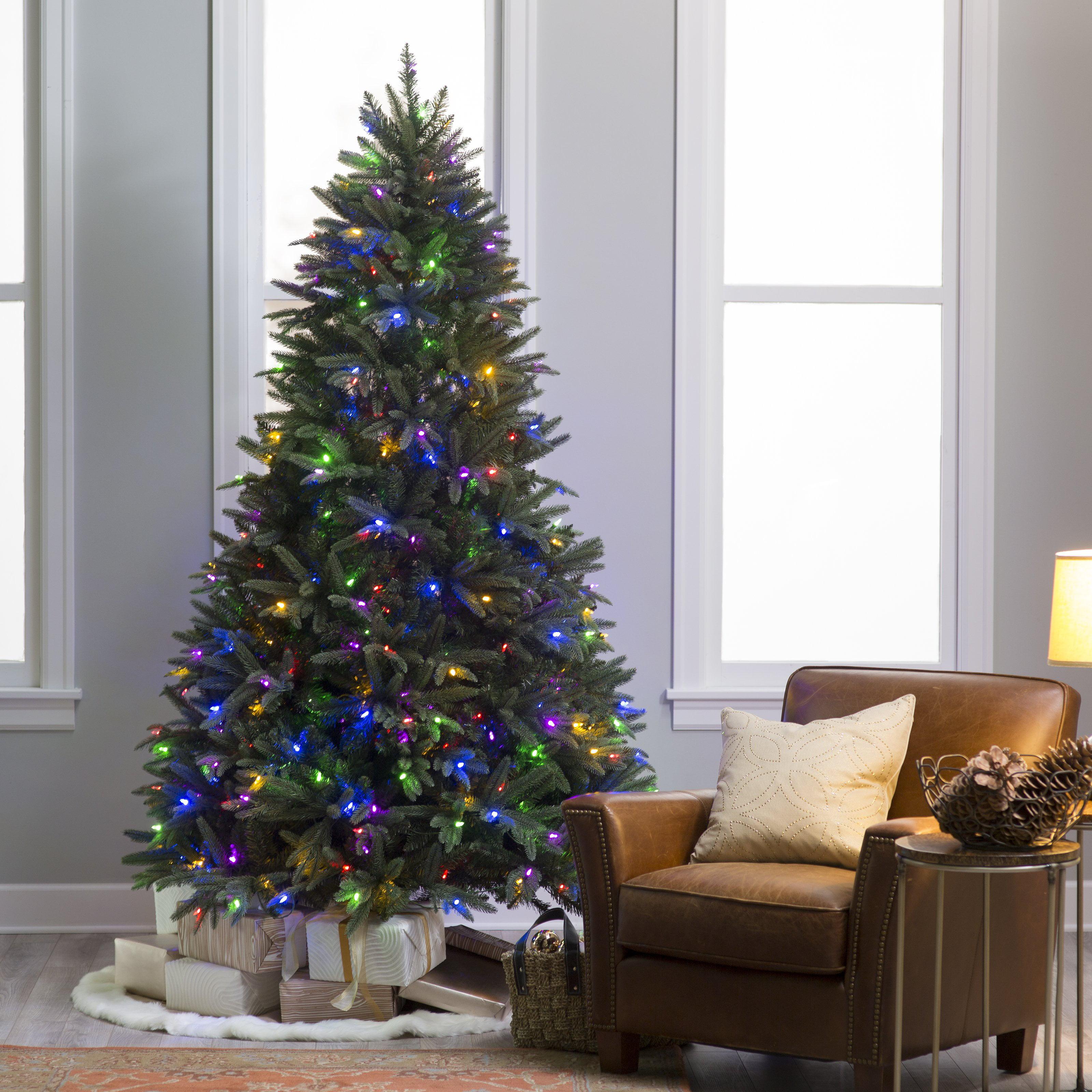 7.5 ft. Natural Cut Pre-lit LED Dakota Pine Christmas Tree with ...
