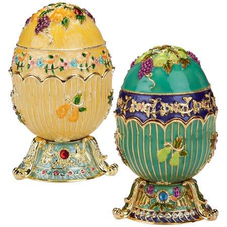 Design Toscano The Ambrosia Collection Romanov Style Enameled Egg: Karis and Selene