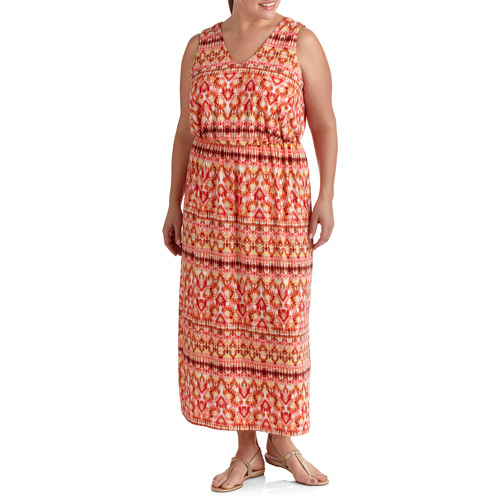 Faded Glory Women's Plus-Size Printed Maxi Dress