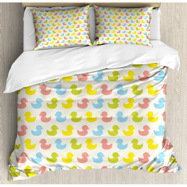 Rubber Duck Duvet Cover Set Colorful, Rubber Duck Baby Bedding