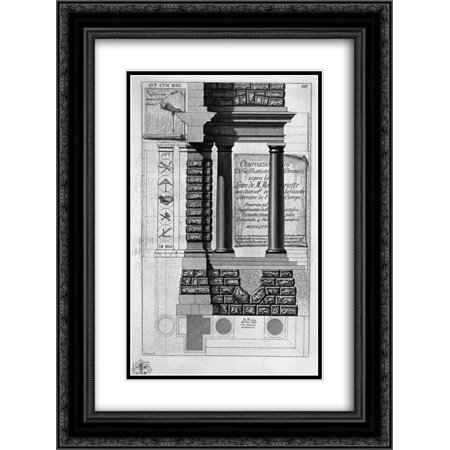 Doric Columns - Giovanni Battista Piranesi 2x Matted 18x24 Black Ornate Framed Art Print 'Title page with the above written on a sign behind Doric columns'