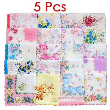 Women's Girls Handkerchiefs Vintage Floral Print Cotton Blossom Flower 30x30cm Hand Towel - Girls Handkerchief