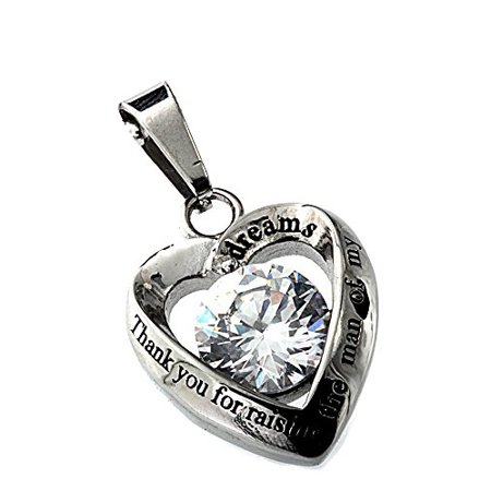 Mother in Law Heart Stainless Steel CZ Pendant (Best Mother In Law Award)