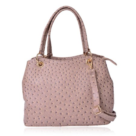 Tan Ostrich Print Faux Leather Hobo Structure Bag with Removable Shoulder Strap and Standing Studs