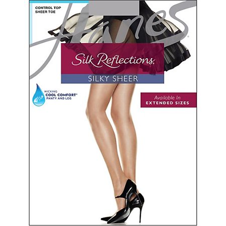 Hanes Silk Reflections Control Top, Sandalfoot Pantyhose 4-Pack