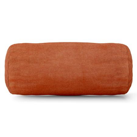 Majestic Home Goods Indoor Orange Villa Velvet Round Bolster Decorative Throw Pillow 18.5 in L x 8 in W x 8 in H