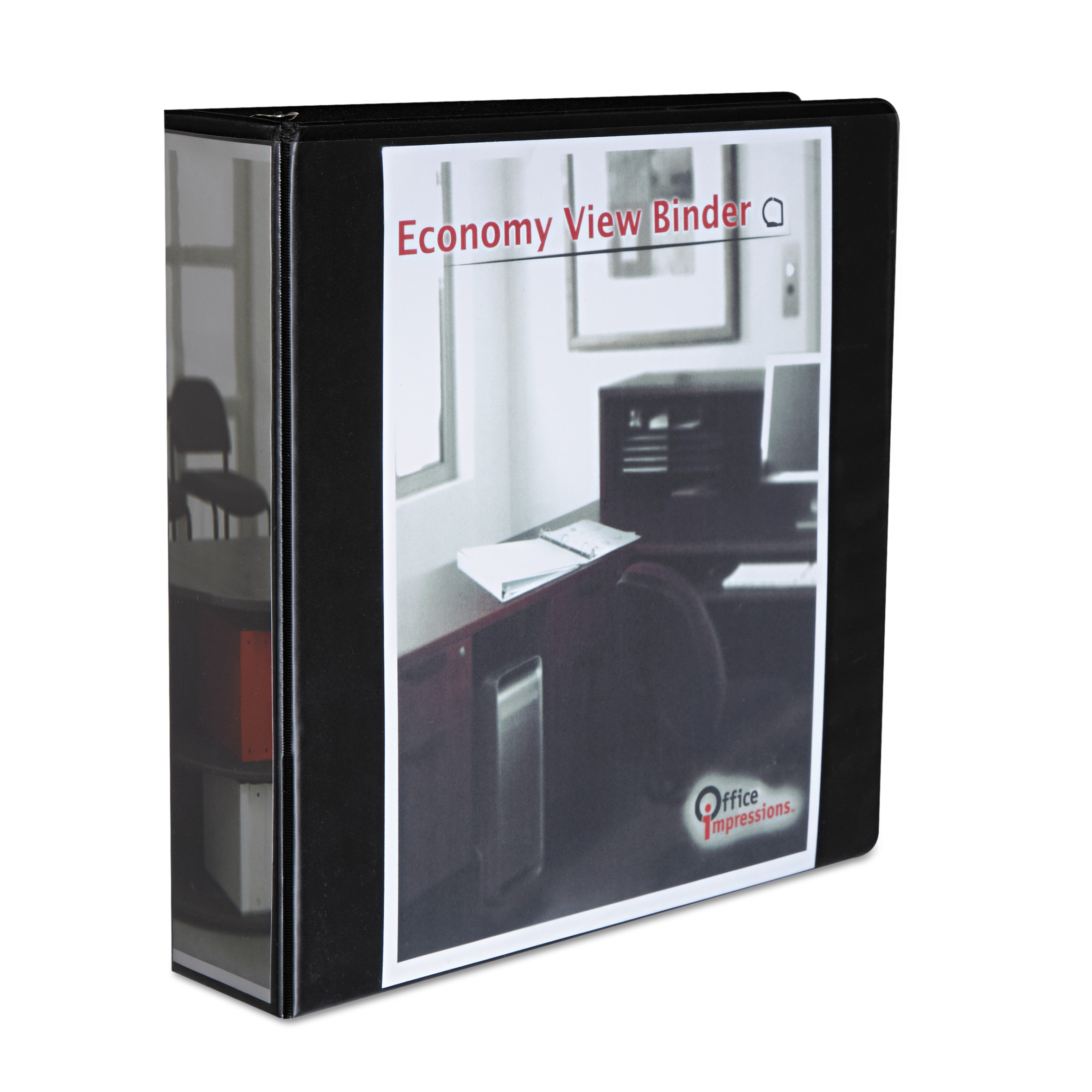 "Office Impressions Economy Slant-Ring View Binder, 2"" Capacity, Black"