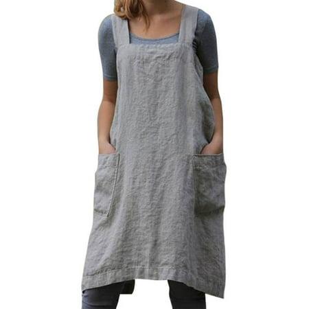Garden Themed Dress (Women Pinafore Dress Cotton Linen Loose Widen Pockets Back Cross Apron Home Garden Work)