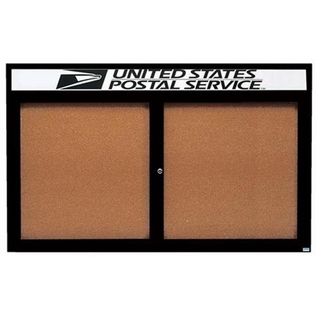 Aarco Products DCC4872RHIBK Illuminated Enclosed Bulletin Board with Header - Black