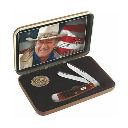 (Case John Wayne 7444 Dark Red Bone Handle Gift Set Barnboard Jig Trapper 6254 SS)