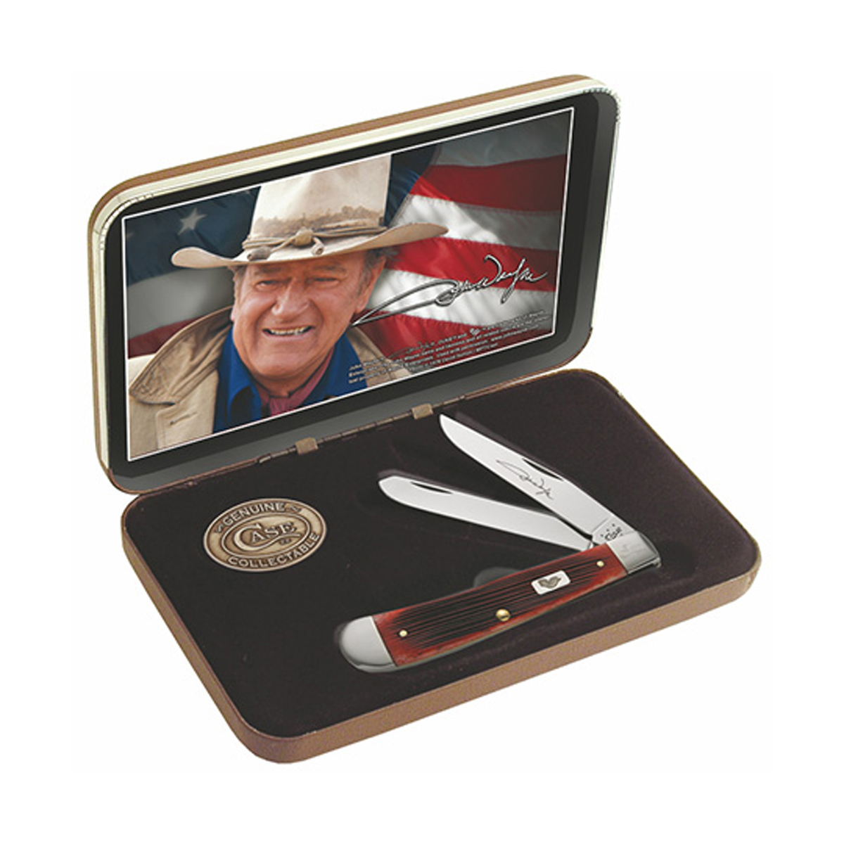 Case John Wayne 7444 Dark Red Bone Handle Gift Set Barnboard Jig Trapper 6254 SS