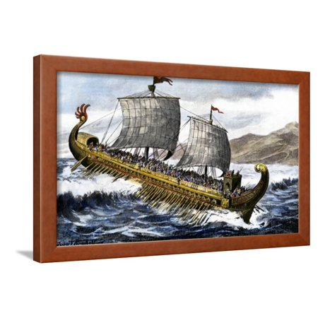 A Trireme, with Three Banks of Oars, Used by the Ancient Greeks and Romans Framed Print Wall Art for $<!---->