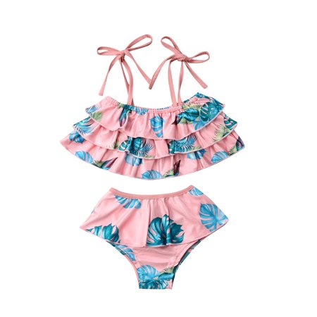 5f106c2a7b Baby Girls Toddlers Bikini Swimsuit Set Family Matching Mommy and Me Two  Piece Leaves Print Strappy Halter Swimsuit Pink