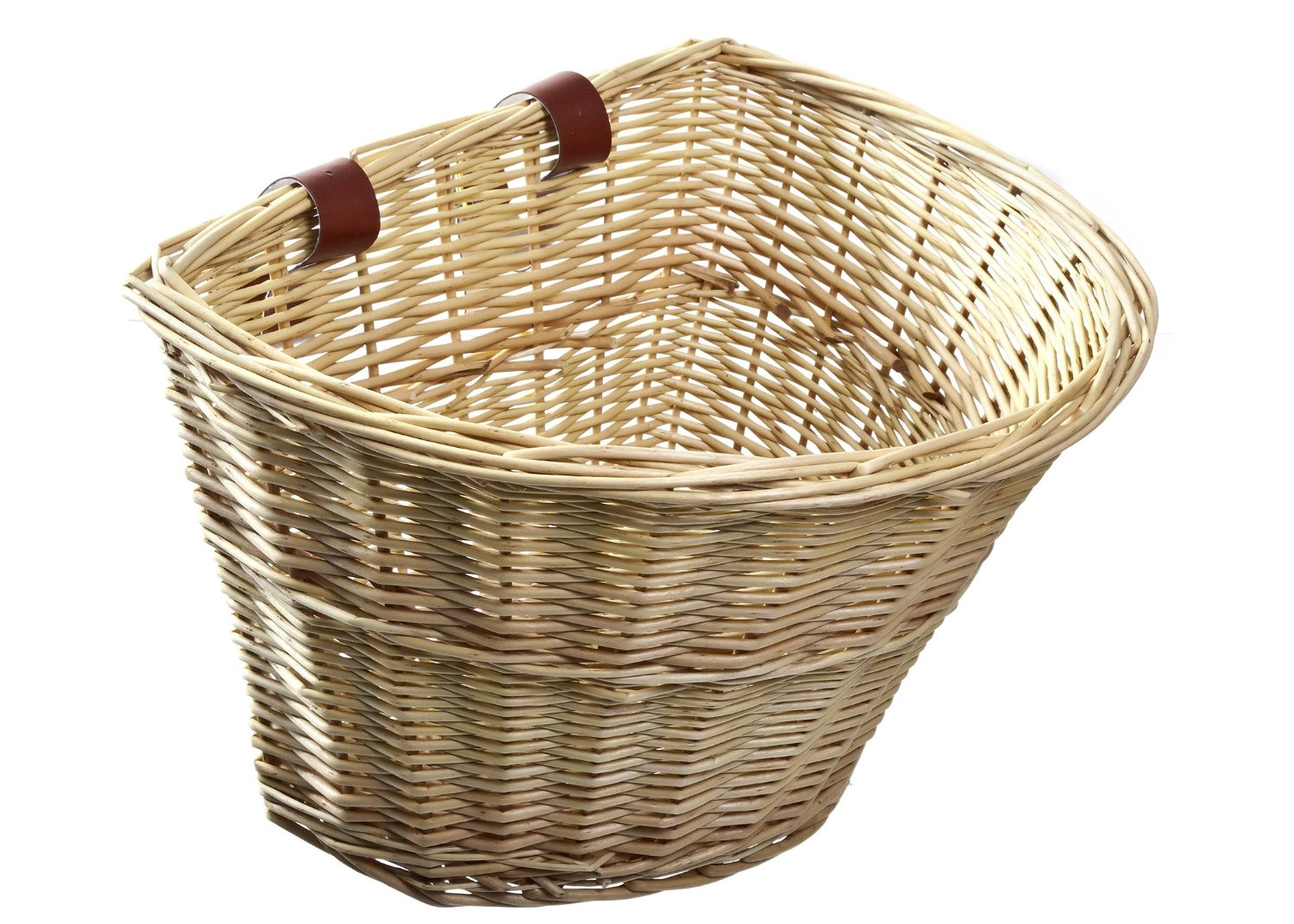 BIKE BICYCLE BASKET WICKER NATURAL FRONT ONE CLICK WITH HANDLE LARGE USEFUL