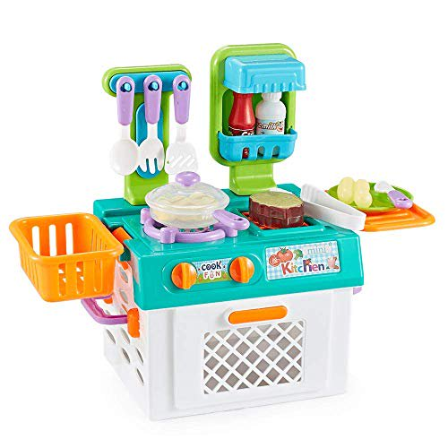 Think Gizmos Play Kitchen Set For Girls Boys Portable Pretend Play Cooking Sets For Kids With