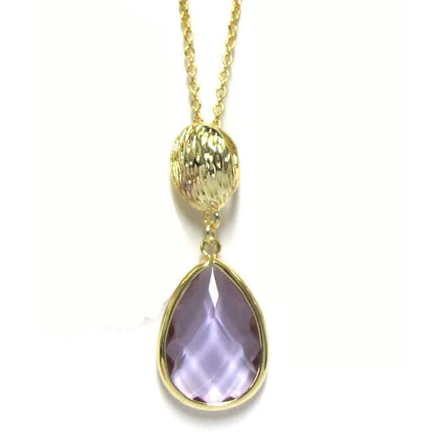 Dlux Jewels Gold Cubic Zirconia lavender Pendent