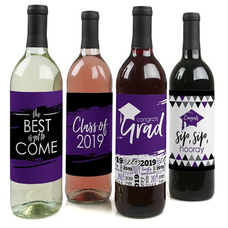 Purple Grad - Best is Yet to Come - 2019 Purple Graduation Party Decorations for Women and Men - Wine Bottle