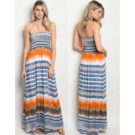 JED FASHION Women's Halter Smocked Printed Maxi (Smocked Halter Maxi Dress)