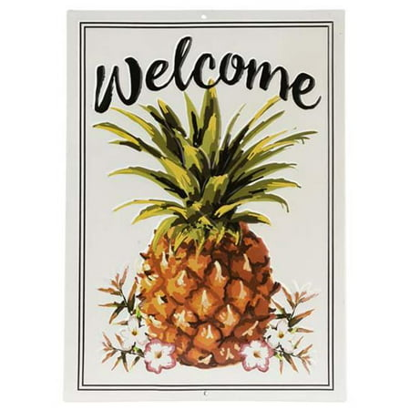 open road brands 90160795-s welcome pineapple embossed tin sign Pineapple Welcome Address Plaque