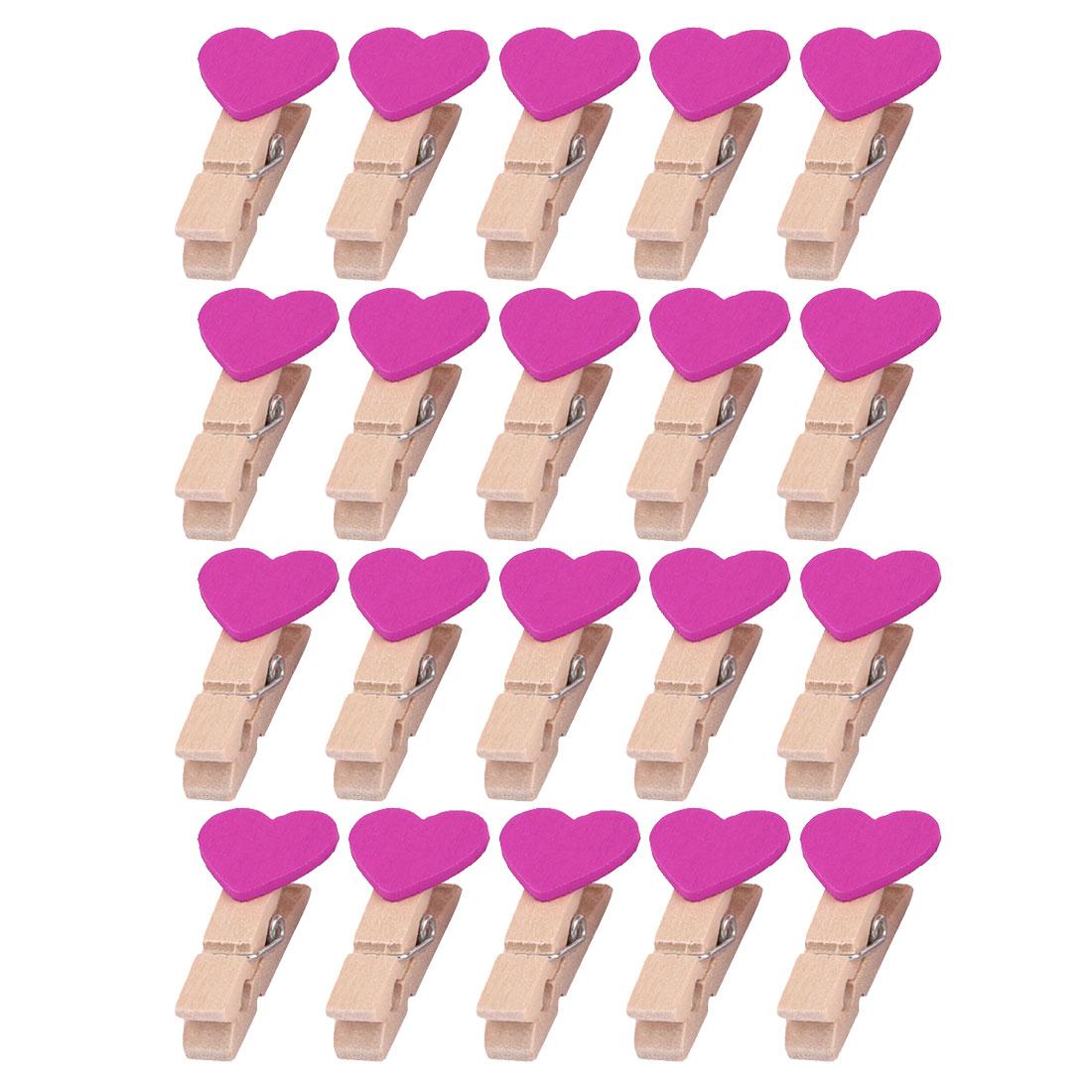 Wooden Heart Decor DIY Photo Card Scrapbooks Hanging Hanger Clip Fuchsia 20pcs
