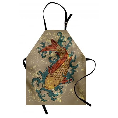 Japanese Apron Grunge Asian Style Oriental Water Koi Carp Fish Aquatic Theme Distressed Pattern, Unisex Kitchen Bib Apron with Adjustable Neck for Cooking Baking Gardening, Multicolor, by Ambesonne