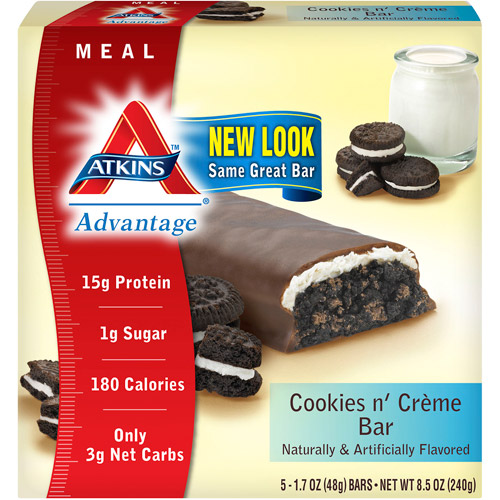Atkins Advantage Cookies N' Creme Bars Nutritional Supplement Bars, 5ct