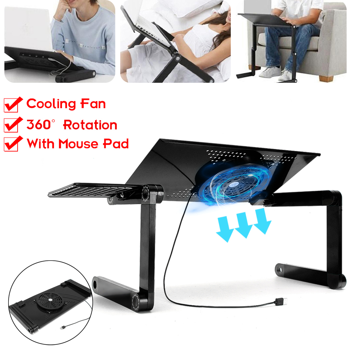 360 degree Adjustable Folding Laptop Notebook Table Stand Tray Desk with Cooling Fan Portable for Bed Carpet Car Lawn Black/Pink