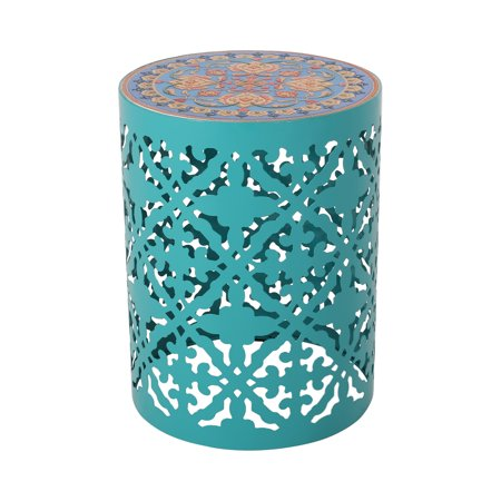 Leiam Outdoor Iron Side Table, Teal, Multi-Color