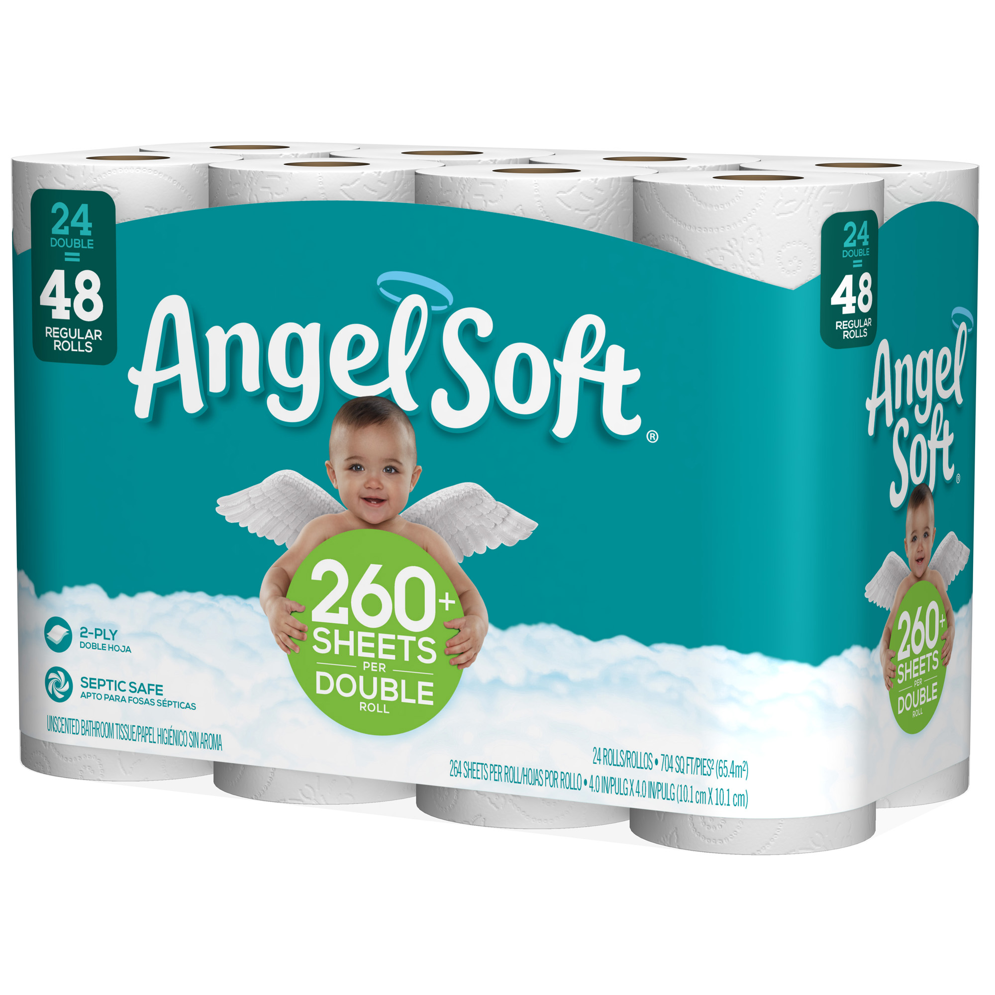 Angel Soft Bath Tissue 24 Double Rolls = 48 Regular Rolls