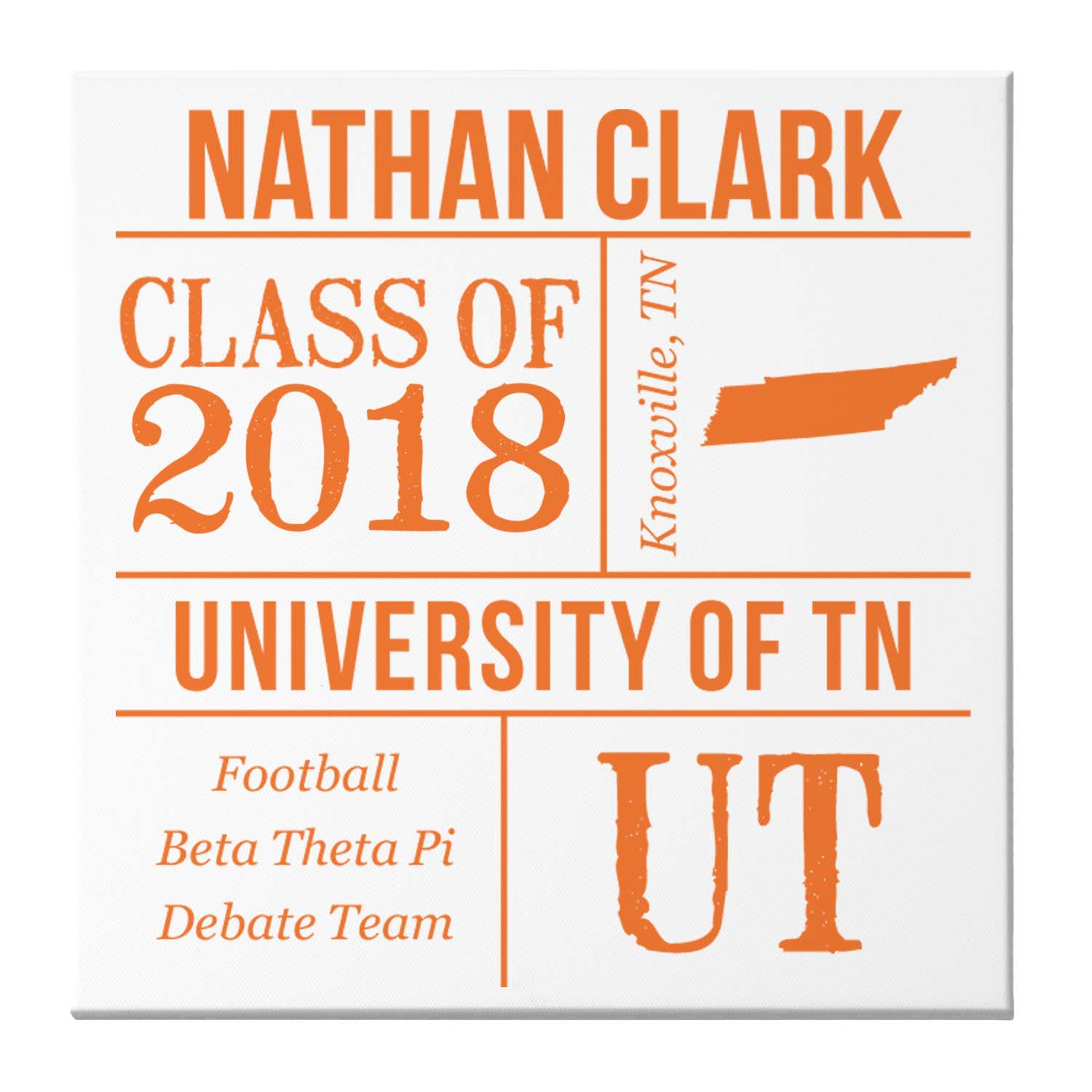 "Personalized All About the Graduate Canvas, 16"" x 16"", Available in 7 Colors"