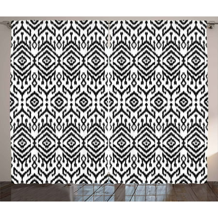 Black and White Curtains 2 Panels Set, Monochrome Ikat Pattern Bohemian Ethnic Authentic Chevron Modern Scribble, Window Drapes for Living Room Bedroom, 108W X 84L Inches, Black White, by Ambesonne ()