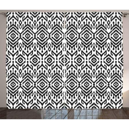 Black And White Curtains 2 Panels Set Monochrome Ikat