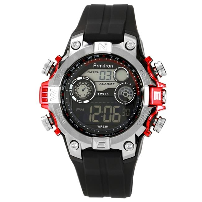 Armitron 40-8251RED Mens Black Case Watch With Red Black Strap LCD Display
