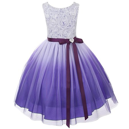 Kids Dream Girls Purple Ombre Rosette Special Occasion Dress 8