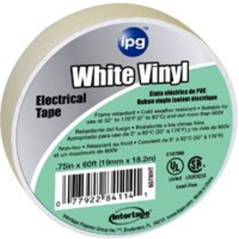 Tape Elec 3/4In 66Ft PVC Wht Intertape Polymer Group Wire Terminal Ends 85828