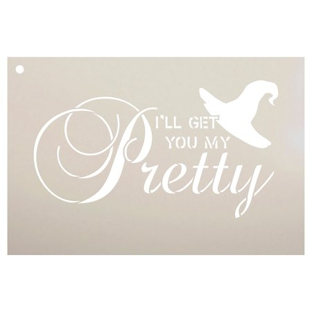 I'll Get You My Pretty - Broom & Hat Stencil by StudioR12 | Halloween Words & Art - Reusable Mylar Template | Stencils for Painting Wood Signs | Front Door - Halloween Mouth Stencil