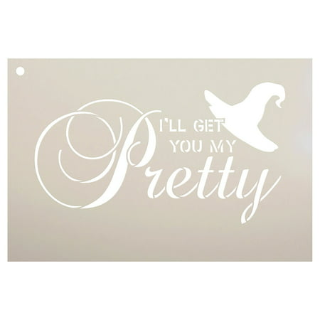 I'll Get You My Pretty - Broom & Hat Stencil by StudioR12 | Halloween Words & Art - Reusable Mylar Template | Stencils for Painting Wood Signs | Front Door - | Use for DIY Home Decor - SELECT SIZE](Owl Halloween Stencil)
