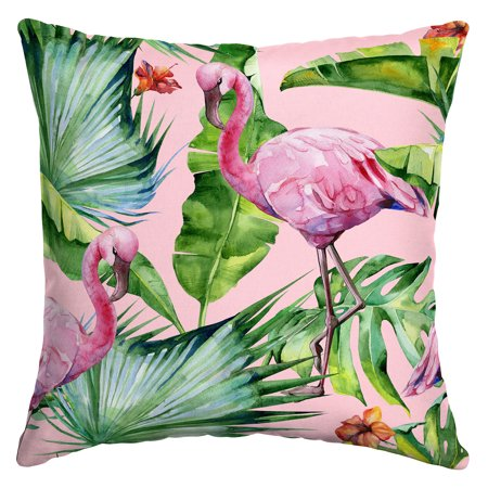 Arden Selections Watercolor Flamingo 16 X 16 In Outdoor Toss Pillow
